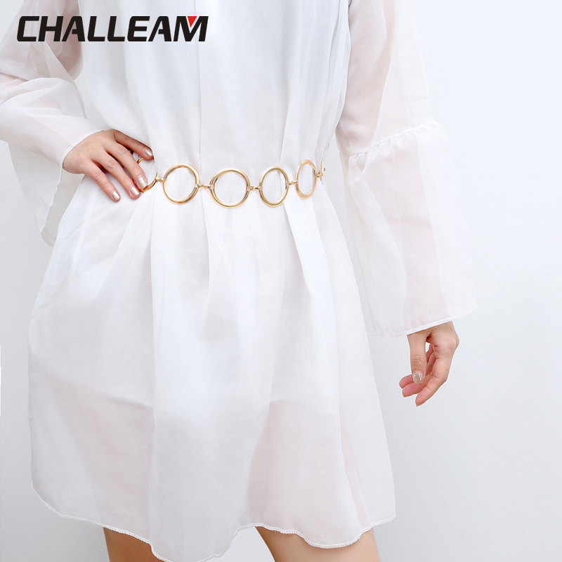Hot Korean Dress Decoration Silver Metal Big Ring Belt Women One Generation Fashion Elegant Gold Women's Waist Chain 393
