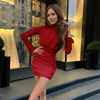 Long sleeve ruched pure sexy mini dress autumn winter women streetwear party outfits clubwear 5