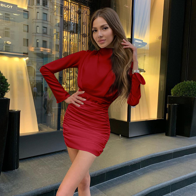 Hugcitar 2020 long sleeve ruched pure sexy mini dress autumn winter women streetwear party outfits clubwear 5