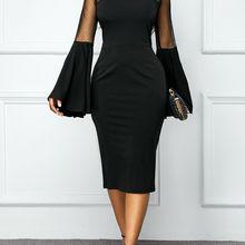 Винтаж облегающее платье модные женские туфли Slim OL Бизнес офисное, официальное платье с длинными расклешенными рукавами зимнее платье Вечерние элегантное платье, Новинка