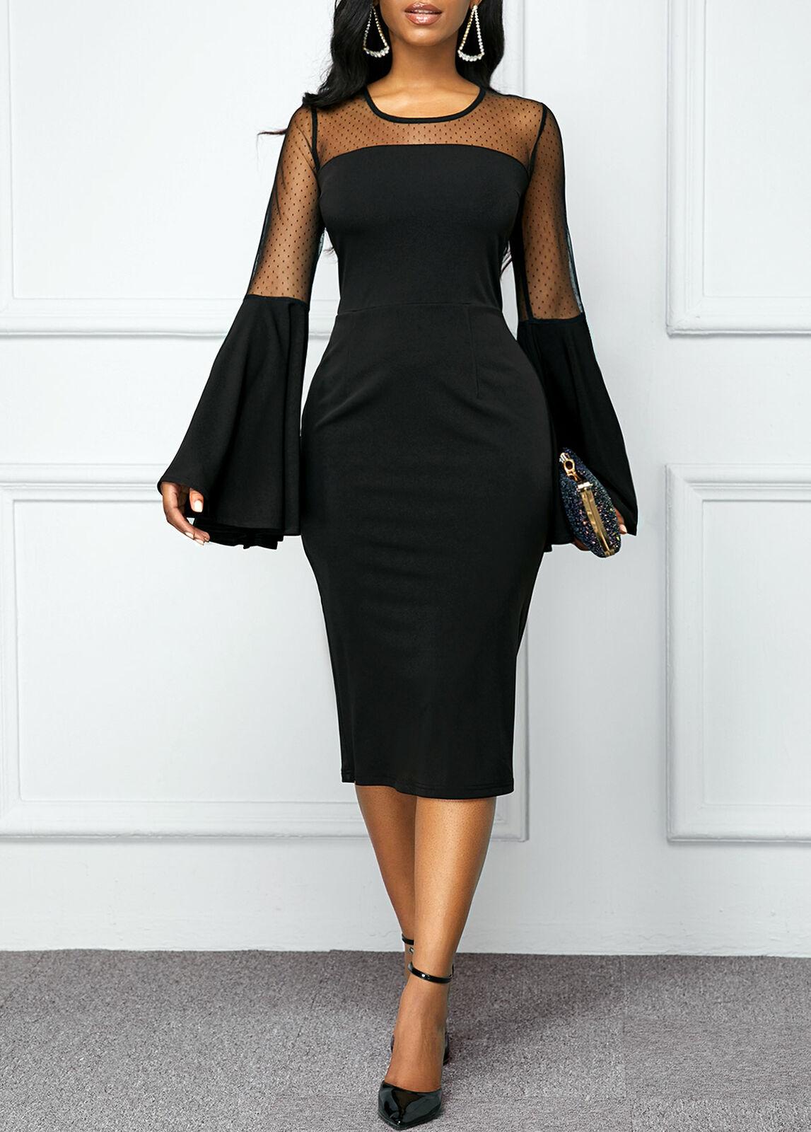 Vintage Bodycon Dress Fashion Women Slim OL Business Office Formal Dress Long Flare Sleeve Winter Dress Party Elegant Dress New