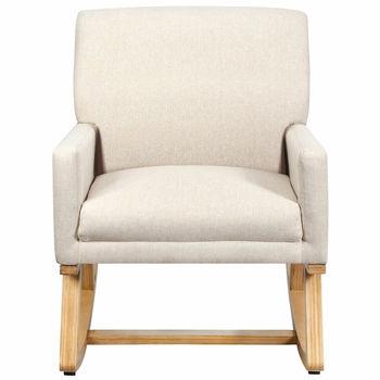 Fotel bujany z tkaniny w połowie wieku tapicerowany fotel akcentowy fotel wypoczynkowy beżowy tanie i dobre opinie CN (pochodzenie) Meble do salonu HW67036BE Szezlong Meble do domu Wood + Sponge