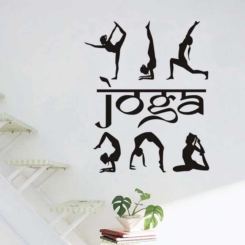 Cartoon Woman Yoga Finess Silhouette Wall Stickers Sports Art Wall Decals For Bedroom Living Room Gym Home Decor Jd1313b0 Wall Stickers Aliexpress