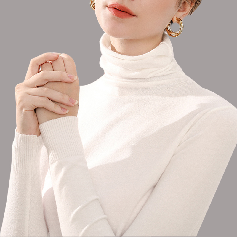 Turtleneck Apparel For Women Sweater Knittd Autumn Winter Warm Pullover Stretch Soft Slim  Jumper-top Long Sleeves Clothes