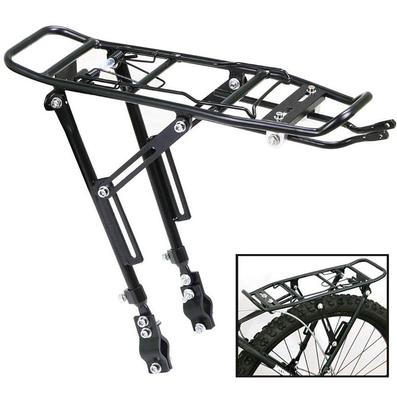 Alloy Rear Bicycle Pannier Rack <font><b>Carrier</b></font> <font><b>Bag</b></font> Luggage Cycle Mountain <font><b>Bike</b></font> Black image