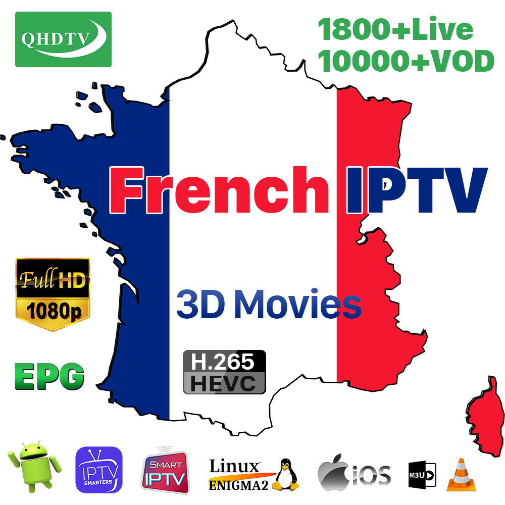 IPTV French Arabic M3U Subscription Smart IPTV Code France 12 Months Pk QHDTV Dazn Spain M3u Netherlands Europe IPTV 4K Arabic