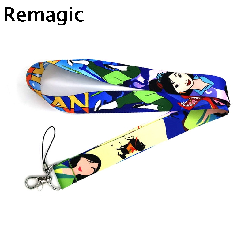 Mulan movie character simple kids 90s vintage gifts Neck keychain necklace Anime Cartoon Strap Lanyard ID badge holder Keychain image