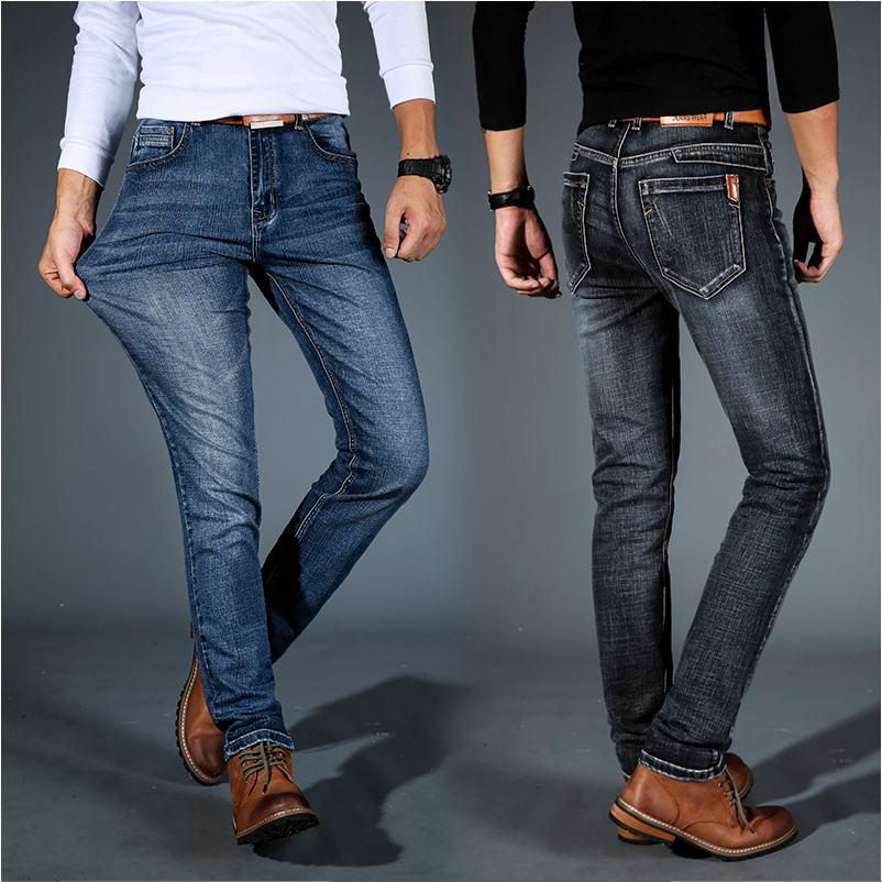 Men Midweigth Elastico Spandex Denim Pantalones Vaqueros De Ajuste Delgado Para Hombres De Negocios Jean Azul Y Negro Colores Jeans Aliexpress