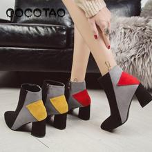 Shoes Boots Of New Fund 2018 Autumn Splicing Square Head High Heel Big Yards Thick With Martin Boots30
