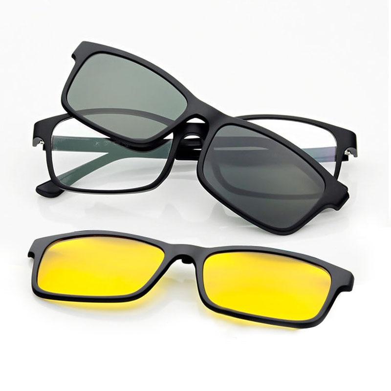 Superlätt glasögon Glasögon för män Magnet 3d Clip Solglasögon Myopia Matt svart polariserad med krok Nvgs 3D-objektiv