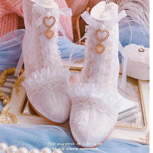 Kawaii Lolita Dress Lace Boots Elegant Lady Sweet Girl Loli Pearl Middle Square Heel Shoes White Party Cosplay Accessory Women