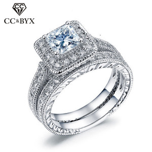 CC Couple Sets Rings For Women Silver Bridal Wedding Cubic Zirconia Square Stone Luxury Lovers Jewelry Engagement Anillos CC1608