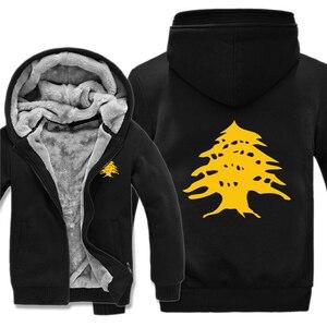 Image 4 - Drapeau libanais sweats à capuche polaire fermeture éclair épaissir hommes vêtements pull Cool liban sweat hommes