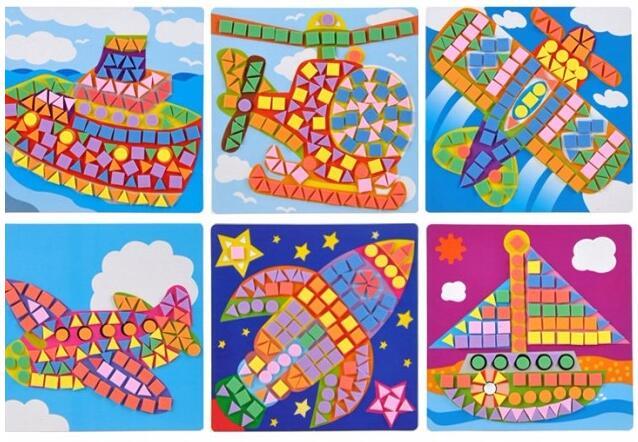 6PCS/Set DIY Kids New EVA Sticky Mosaics Kit Educational EVA Game Toy For Children