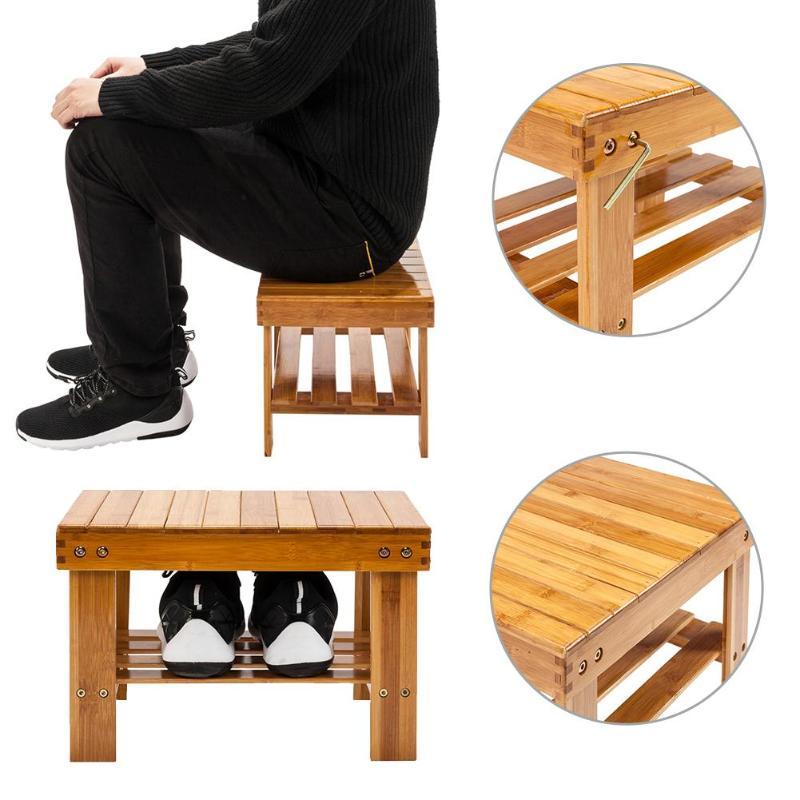 Children Bench Stool Bamboo Wood Color Bath Organizer Stool With Storage Racks Shelf Wood Color 24.27
