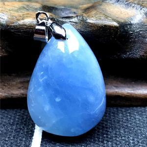 Image 2 - Natuurlijke Blauwe Aquamarijn Hanger Voor Vrouw Lady Crystal 27X19X10 Mm Edelsteen Clear Kralen 925 Zilveren Ketting hanger Sieraden Aaaaa