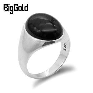 Image 1 - 925 prata esterlina anel masculino com preto natural onyx pedra anel para masculino feminino turco artesanal jóias