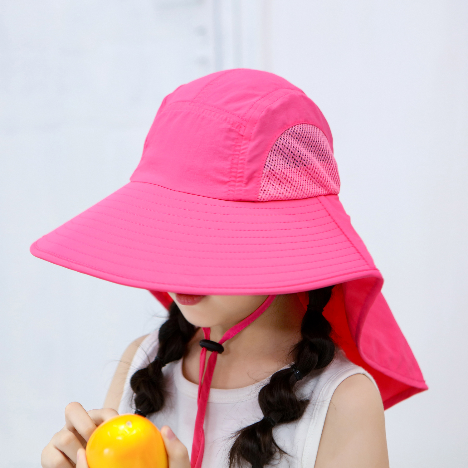 Children Sun Hat Wide Brim Sun Cap With Neck Flap For Travel Camping Hiking Fishing Boating