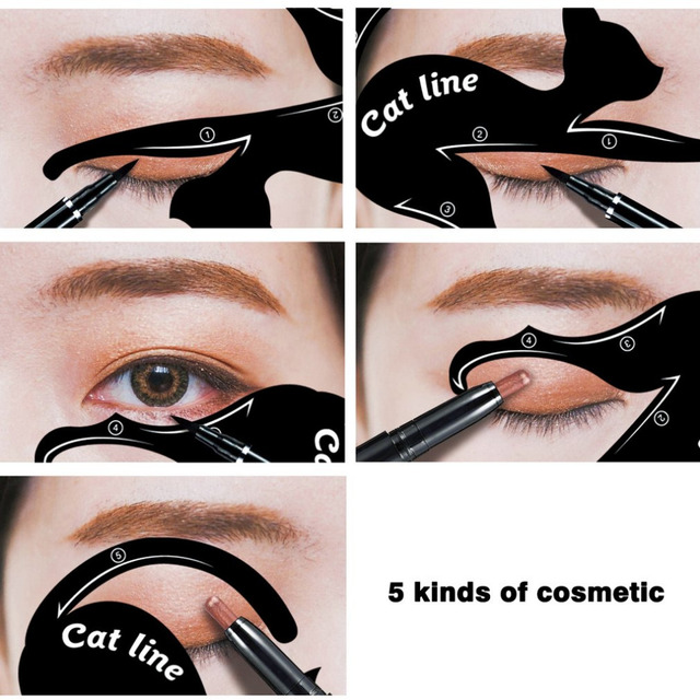 2 pcs/set Fashionable Women Cat Line Eye Makeup Eyeliner Unique Stencils Templates Makeup Tools Kits For Eyes Eyeliner Tools