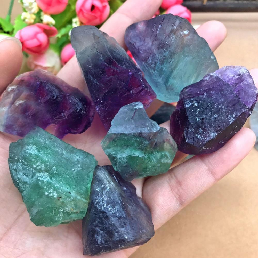 2pcs Colorful Natural Fluorite Crystal Striped Fluorite 1.5-2CM Quartz Crystal Stone Point Healing Wand Treatment Stone