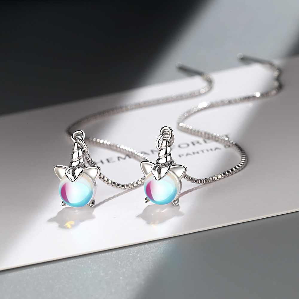 925 Sterling Silver Unicorn Earring boucle d'oreille Long Drop Earring for Women Fashion Jewelry Dropshipping eh832