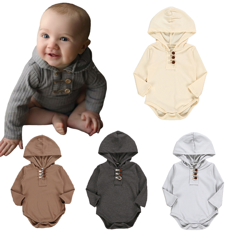 Baby Romper Solid Color Thread Infant Jumpsuit Fashion Long-sleeve Hooded Button Newborn One-piece Rompers Baby Clothes