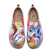 UIN Female Women Loafers Casual Canvas 2020 Modern Art Serious Cat Design Ladies Slip On Shoes Espadrilles