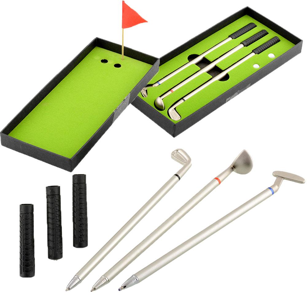 3Pcs New Mini Golf Clubs Models Ballpoint Pen Flag Putter Iron Set Gift For Friends