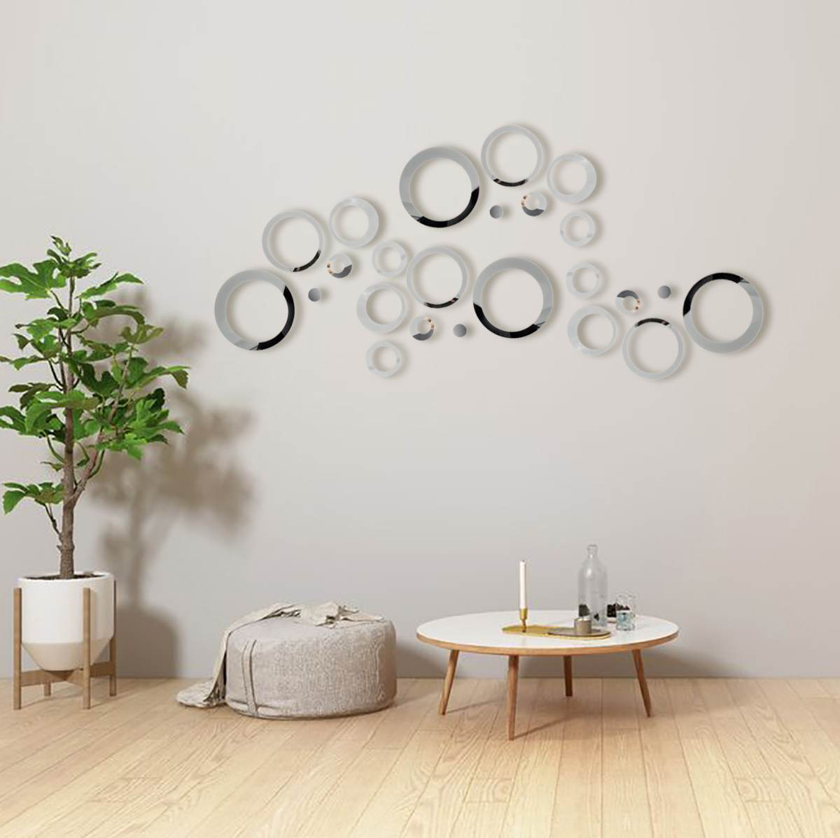 Us 2 66 43 Off 24pcs Set 3d Diy Circles Wall Sticker Home Decoration Mirror Wall Stickers For Tv Background Home Decor Acrylic Decor Wall Art In
