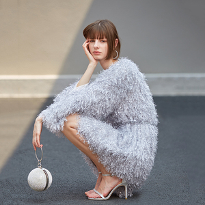 Image 2 - [EAM] Women Gray Tassel Belt Temperament Dress New V Neck Long Sleeve Loose Fit Fashion Tide All match Spring Autumn 2020 1B158