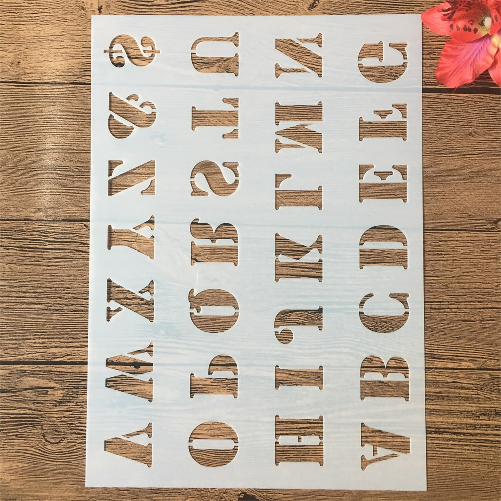A4 29cm Alphabet Uppercase Letters DIY Layering Stencils Painting Scrapbook Coloring Embossing Album Decorative Paper Template