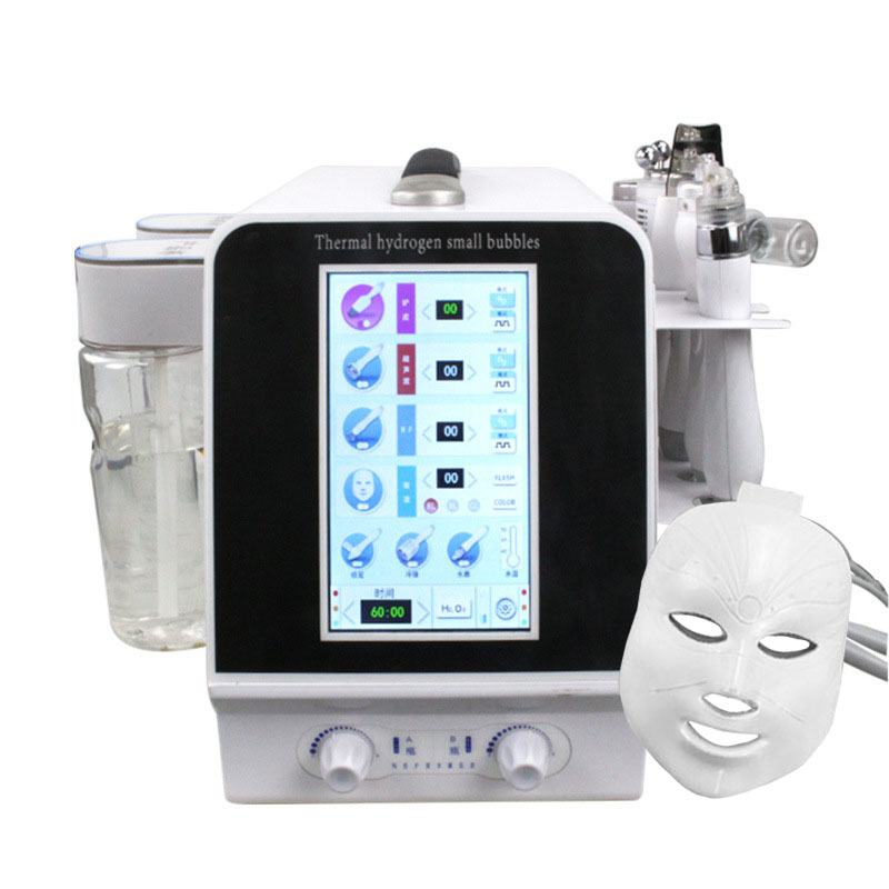 Upgrade 7 In 1 Thermal Hydrogen Small Bubbles Skin Care Tools Ultrasonic RF Hydra Deep Facial Pore Clean Facial Massage Machine
