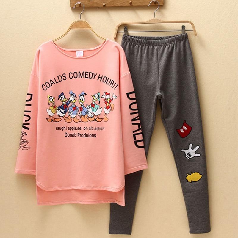 2020 New Women Pajamas Sets Autumn Long Sleeve Cartoon Print Cute Sleepwear Girl Pijamas Mujer Leisure Nightgown Adult Clothes