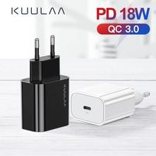 Kuulaa usb carregador 18 w pd 3.0 carga rápida 4.0 carregamento rápido usb c plug carregador do telefone móvel para iphone samsung xiaomi
