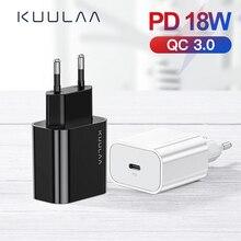 Ładowarka USB KUULAA 18W PD 3.0 szybkie ładowanie 4.0 szybkie ładowanie USB C wtyczka ładowarka do telefonu komórkowego dla iPhone Samsung Xiaomi