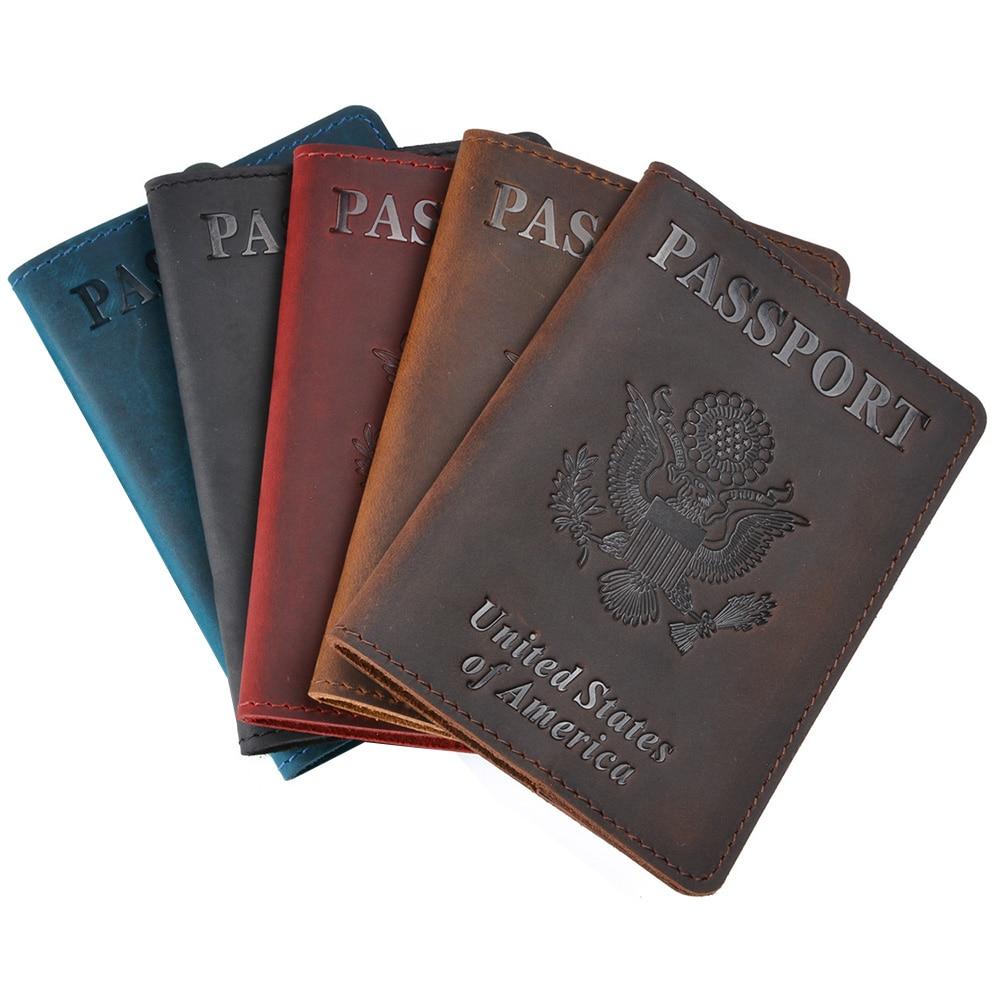 Personalised Logo Genuine Leather Passport Cover USA Travel Men Genuine Leather  Cover The Passport America H Passport Pouch