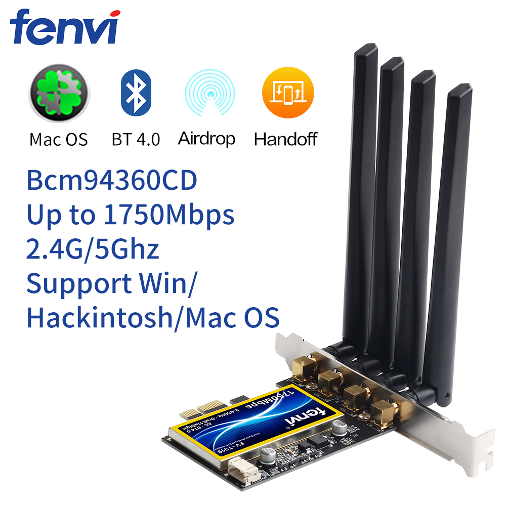 FV T919 1750Mbps Dual Band 802 11AC Desktop Wifi Adapter Broadcom BCM94360 Wireless Bluetooth 4 1