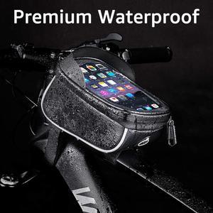 Image 2 - الدراجة دراجة للماء هاتف محمول حقيبة حامل MTB الجبهة إطار كيس أنبوب حالة 6.0 بوصة المعطف السرج حقيبة دراجة