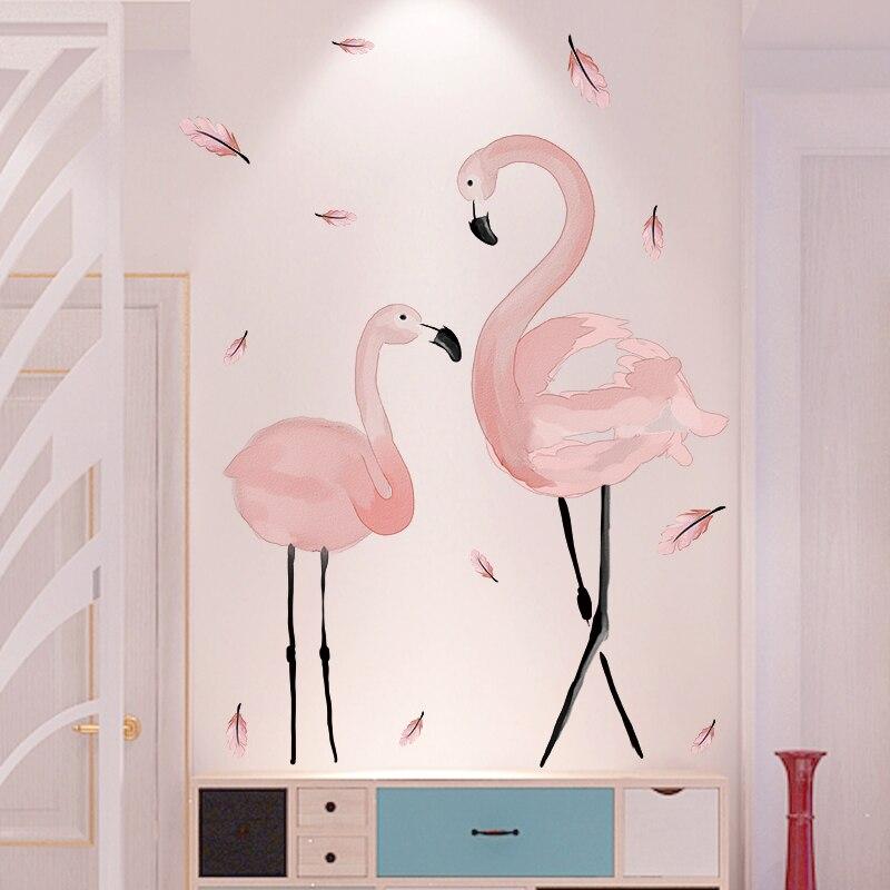 [Shijuekongjian] rosa flamingo adesivos de parede pvc material diy aves mural decalques para casa crianças quartos do bebê quarto decoração