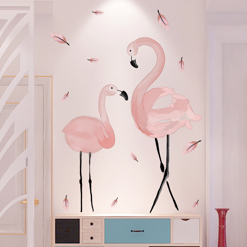 [shijuekongjian] Pink Flamingo Wall Stickers PVC Material DIY Birds Mural Decals for House Kids Rooms Baby Bedroom Decoration