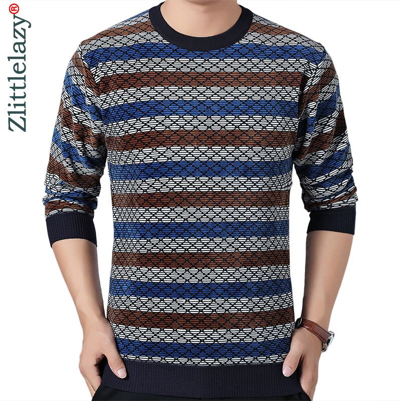 2019 Striped Thick Warm Winter Striped Knitted Pull Sweater Men Wear Jersey Dress Pullover Knit Mens Sweaters Male Fashions 9307