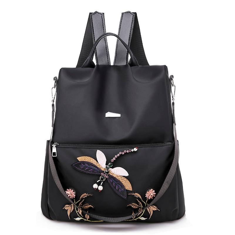 2 Ways Wearing Retro Backpack Women Teenage Girl Dragonfly Embroidery Nylon School Shoulder Bag Female Backpack Mochila Feminina