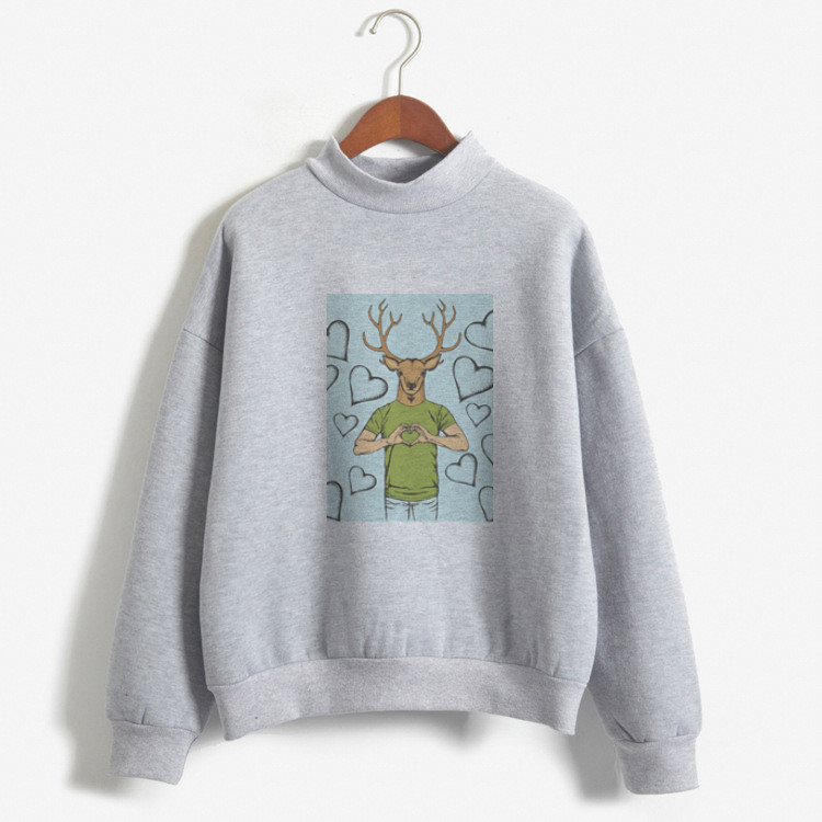 Autumn Winter Loose Fleece Thick Knit Sweatshirt Female Hooded Pullover Tops Women Hoodies Casual Female Clothes Custom Printed