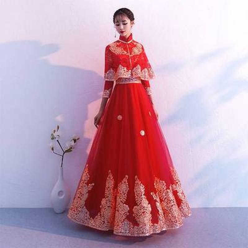 YULUOSHA Bridesmaid Dresses Women Red Dress Long Dress Party Lace Appliques Draped Ball Gown Bridesmaid Sexy Rhinestone Dress