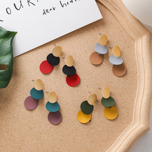 Fashion Korea Geometric Metal Round Curved Dangle Earrings Simple Contrast Color Wild Multi-Layer For Women Girls Party Gift