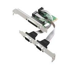 Большой-Q 2 RS232 RS-232 последовательный порт COM& DB25 принтер параллельный порт LPT к PCI-E PCI Express адаптер конвертер AX99100 чип