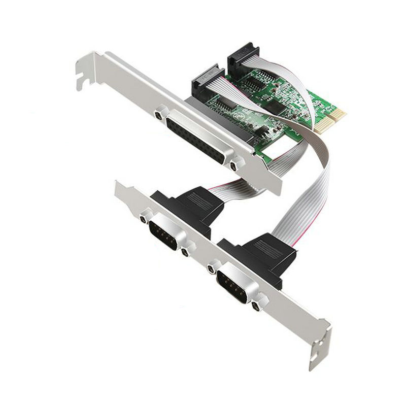 Great-Q 2 RS232 RS-232 Serial Port COM & DB25 Printer Parallel Port LPT to PCI-E PCI Express Card Adapter Converter AX99100 CHIP