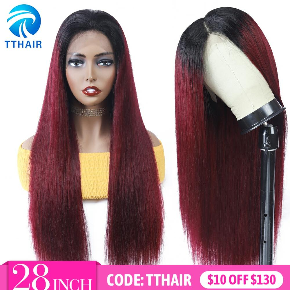TTHAIR Ombre Human Hair Wig Straight Lace Frontal Wig Burgundy Lace Front Wigs Transparent Lace Wigs Brazilian Wig Remy 28 Inch