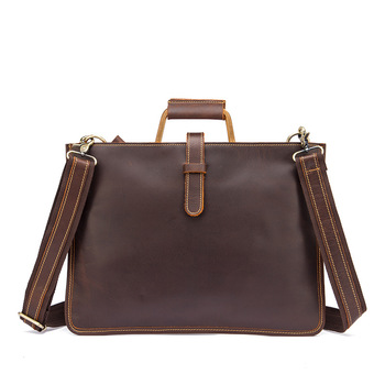 New Shoulder Bag Head Layer Crazy Horse Leather Cowhide Leather Retro Men'S 14-Inch Business Portable Document Computer Bag 6077
