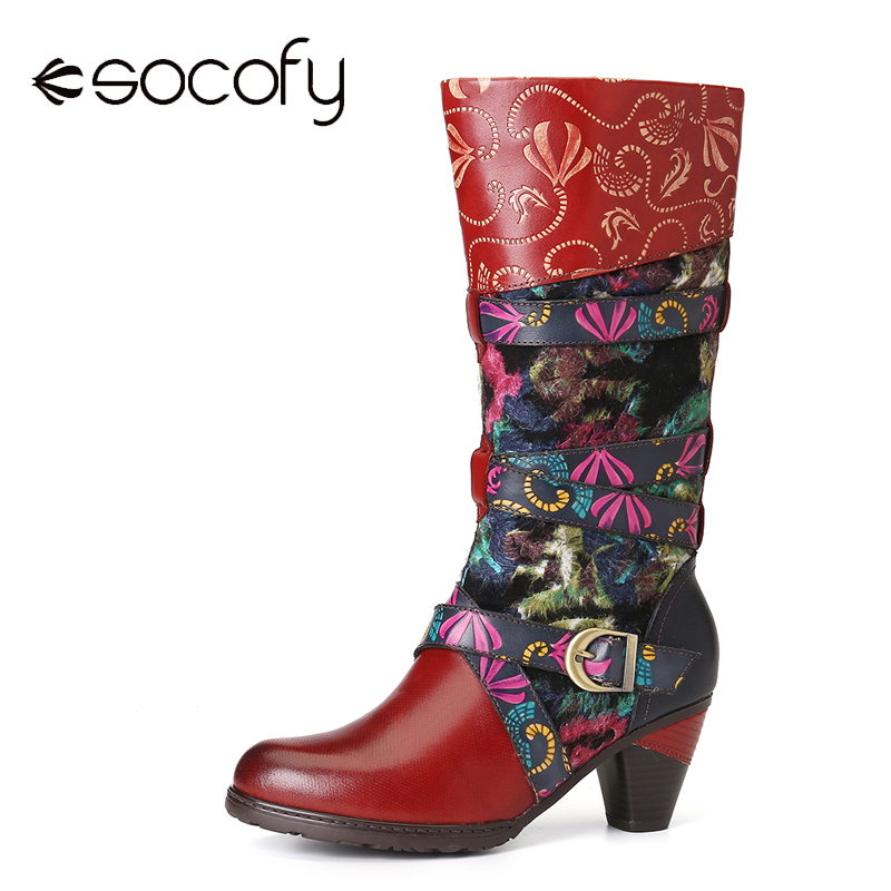 SOCOFY Retro Watercolor Embossed Decorated Buckle Strap Elegant Soft Mid Calf High Heel Boots Shoes Women Shoes Botas Mujer 2020